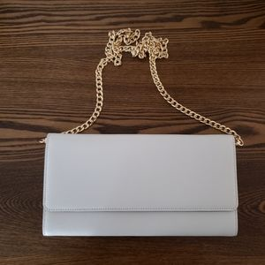 Nordstrom Mini Flap Clutch - White w/ Gold Chain